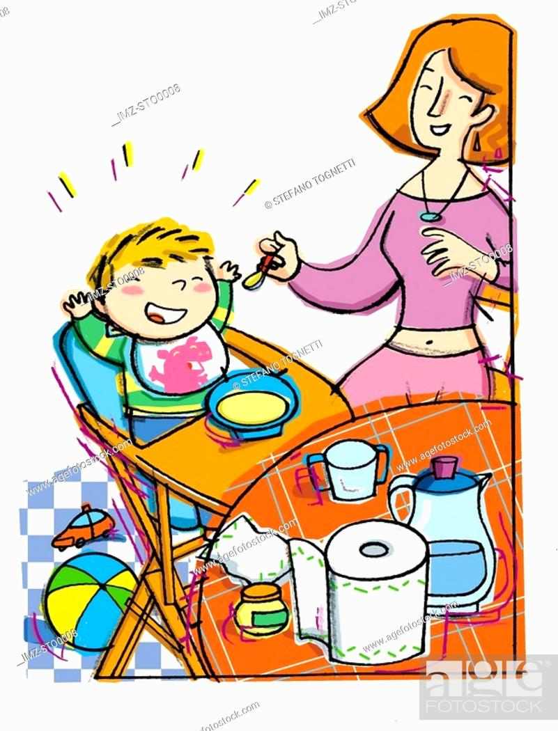 Stock Photo: Mother feeding baby in highchair.