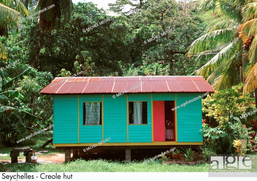 Stock Photo: Seychelles - Creole hut.