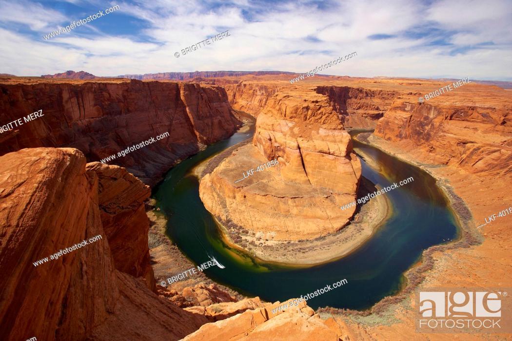 Stock Photo: View of the Horseshoe Bend of Colorado River, Glen Canyon, Glen Canyon National Recreation Area, Arizona, USA, America.