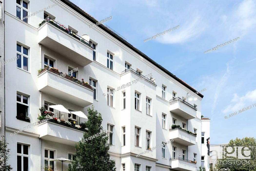 Stock Photo: Low angle view of old residential buildings in Berlin Mitte.
