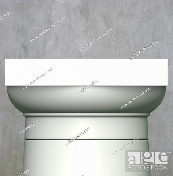 Stock Photo: 3d render classic Roman column on gray grunge background.
