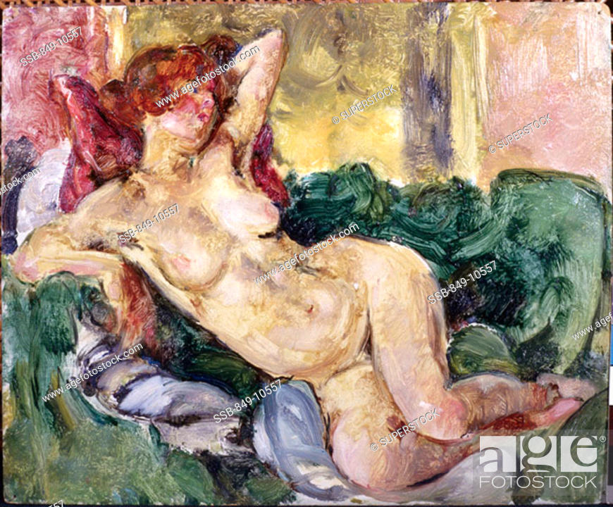 Stock Photo: Reclining Nude  1920 Martha Walter (1875-1976 American) Oil on board David David Gallery, Philadelphia, Pennsylvania, USA.