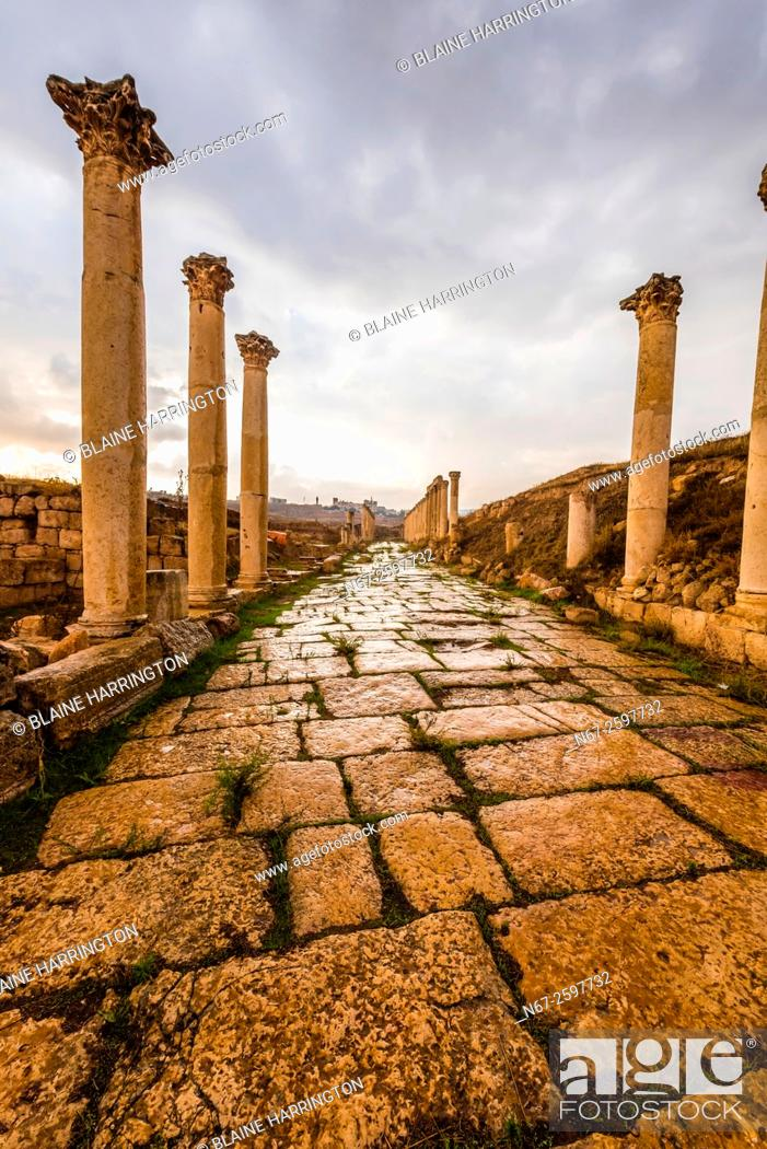 "Stock Photo: The South Decumanus at Jerash once served as the Roman town's main eastâ. ""west axis. Greco-Roman Ruins, Jerash, Jordan."