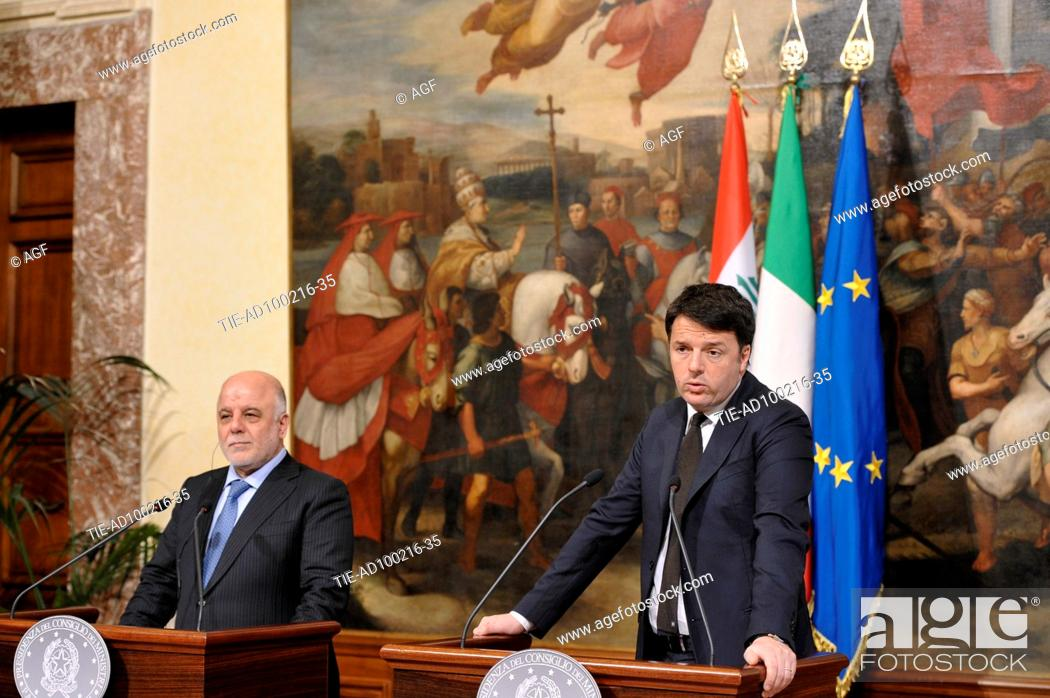 Imagen: President of the Council of Ministers Matteo Renzi with the the Prime Minister of the Republic of Iraq, Haider Al-Abadi attends the bilateral meeting Italy-iraq.