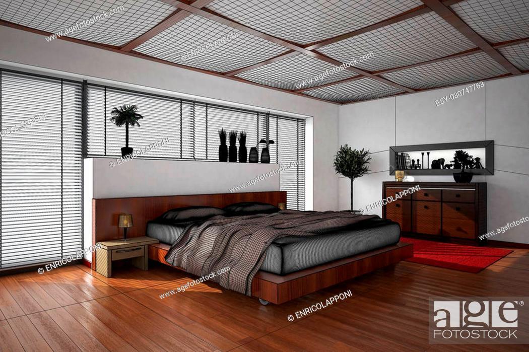 Stock Photo: 3D interior rendering of a modern bedroom.