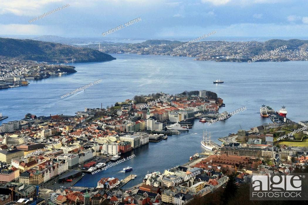 Stock Photo: View from the mountain Floyen to the city centre of Bergen with the peninsula Nordnes surrounded by water, 1 March 2017 | usage worldwide.