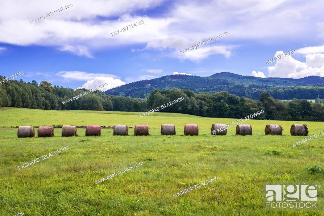 Stock Photo: Rural landscape in Lusatian Mountains in Western Sudetes, Liberec region Czech Republic.