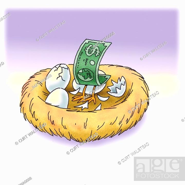 Stock Photo: A dollar bill hatching in a nest.