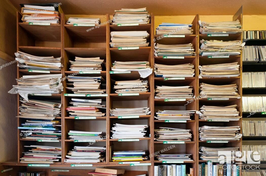 Stock Photo: Shelves of sheet music in Scarthins Bookshop in the small town of Cromford in Derbyshire, England.