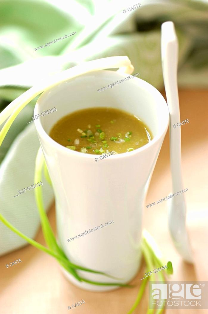 Stock Photo: chervil cream soup.