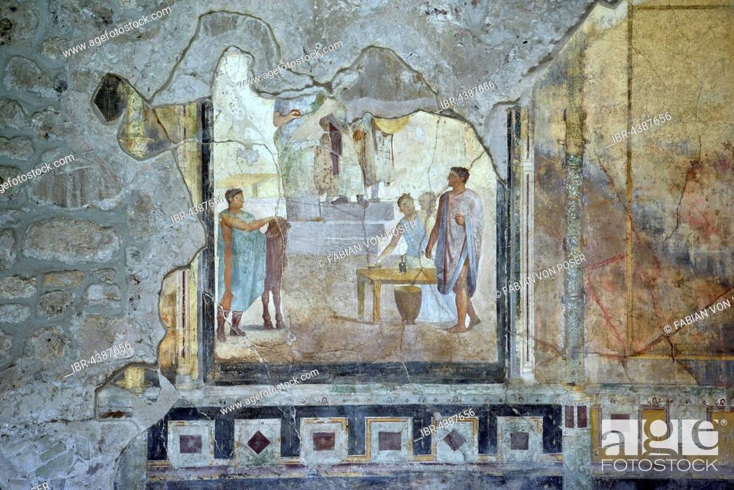 Roman wall painting, fresco in a town house, ancient city of Pompeii ...