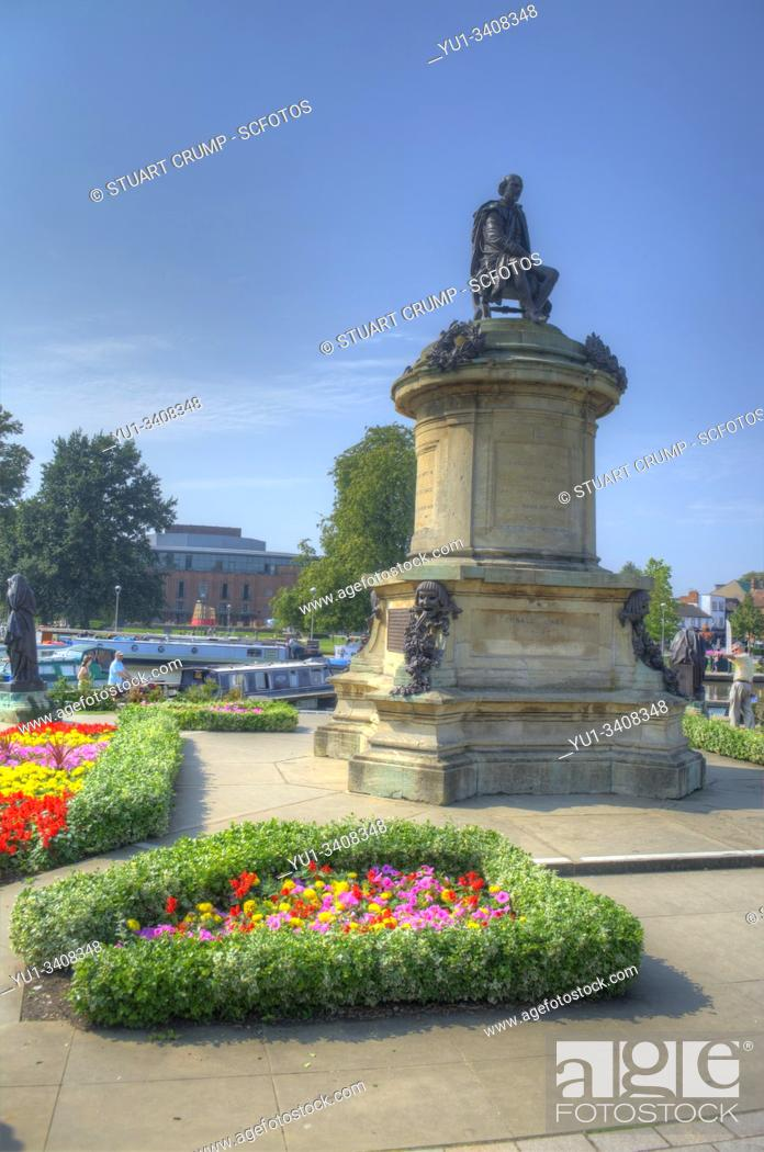 Stock Photo: HDR image of the Gower Memorial in the Bancraft Gardens featuring William Shakespeare in Stratford-Upon-Avon.