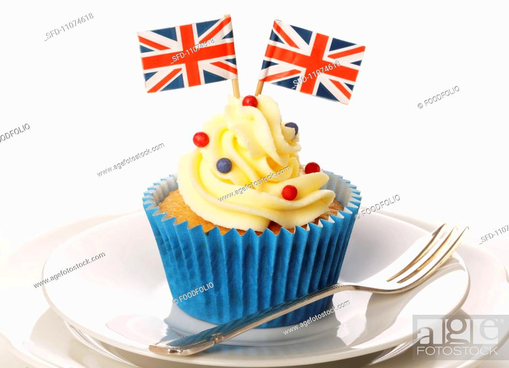 Stock Photo: A cupcake decorated with a Union Jack.