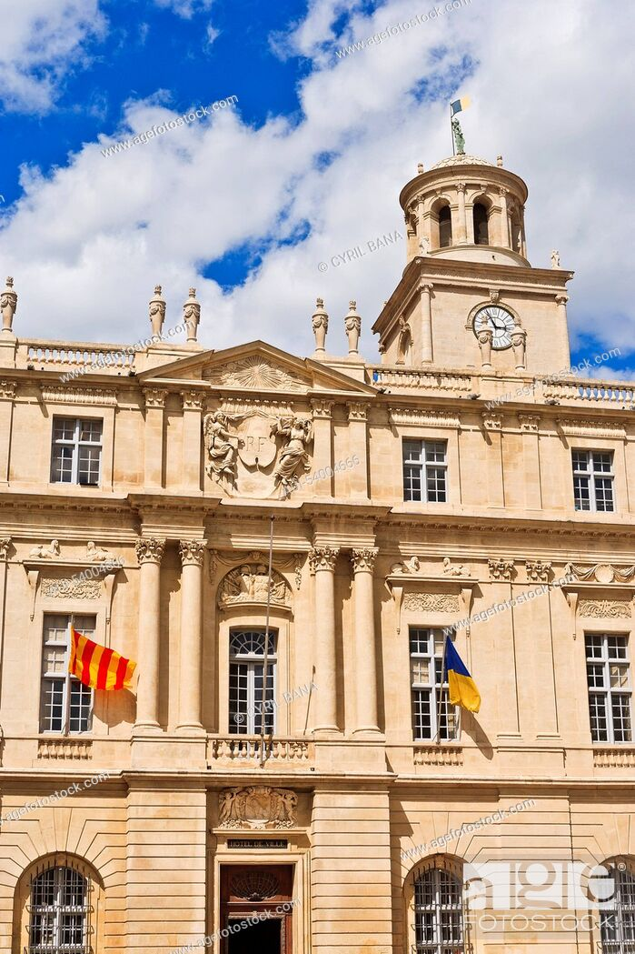 Stock Photo: France, Arles, City Hall, frontage, front view, tower,.