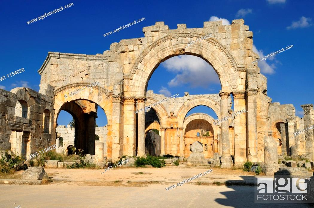 Stock Photo: ruin of Saint Simeon Monastery, Qala'at Samaan, Qalaat Seman archeological site, Dead Cities, Syria, Middle East, West Asia.