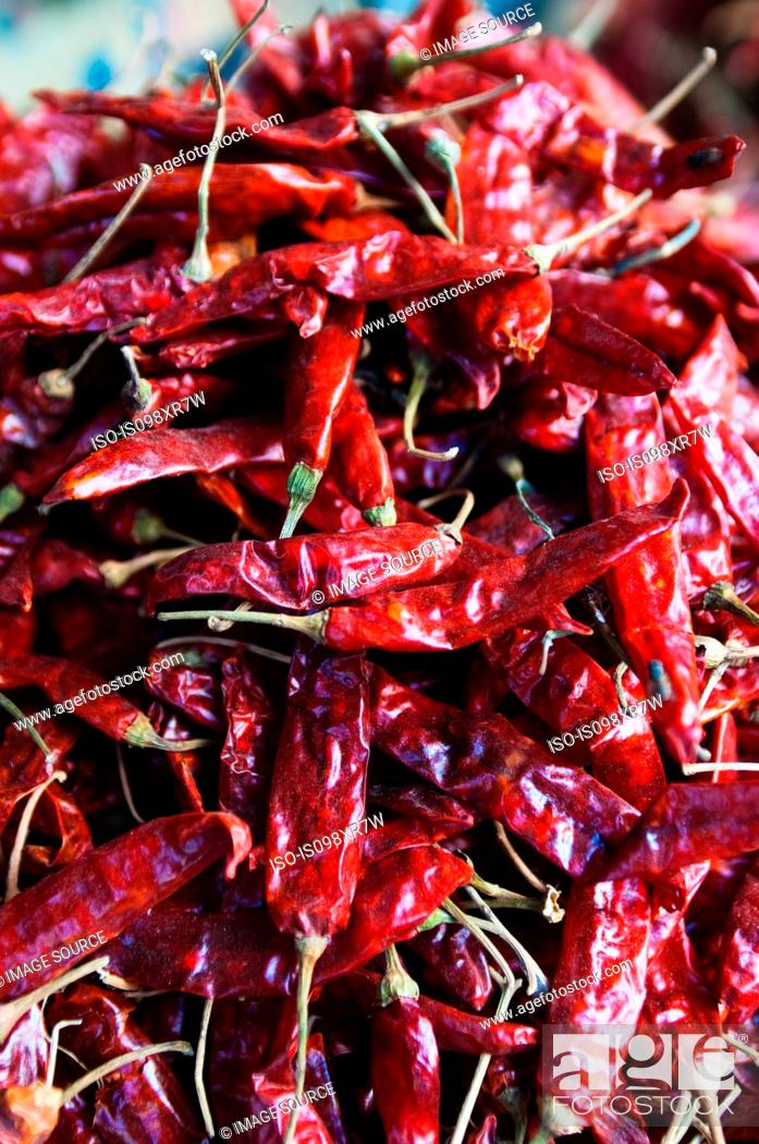 Stock Photo: Dried Red Chillies in a market in Mysore, Karnataka.