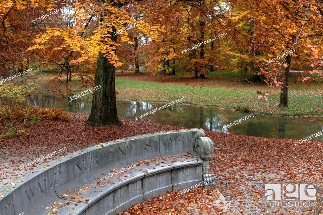 Stock Photo: Stone bench in the English garden, Munich, Lehel, Upper Bavaria, Bavaria, Germany,.