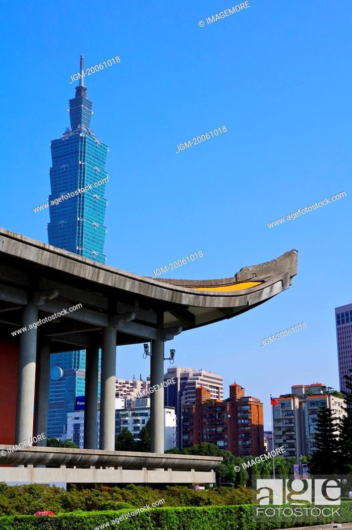 Stock Photo: Taiwan, Taipei, Taipei 101, Dr. Sun Yat-Sen Memorial Hall.