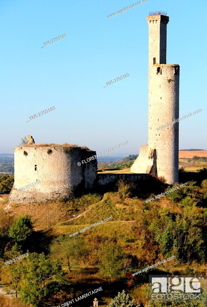 Stock Photo: Tower of castle of Castelnau de Levis, Tarn, Occitanie.