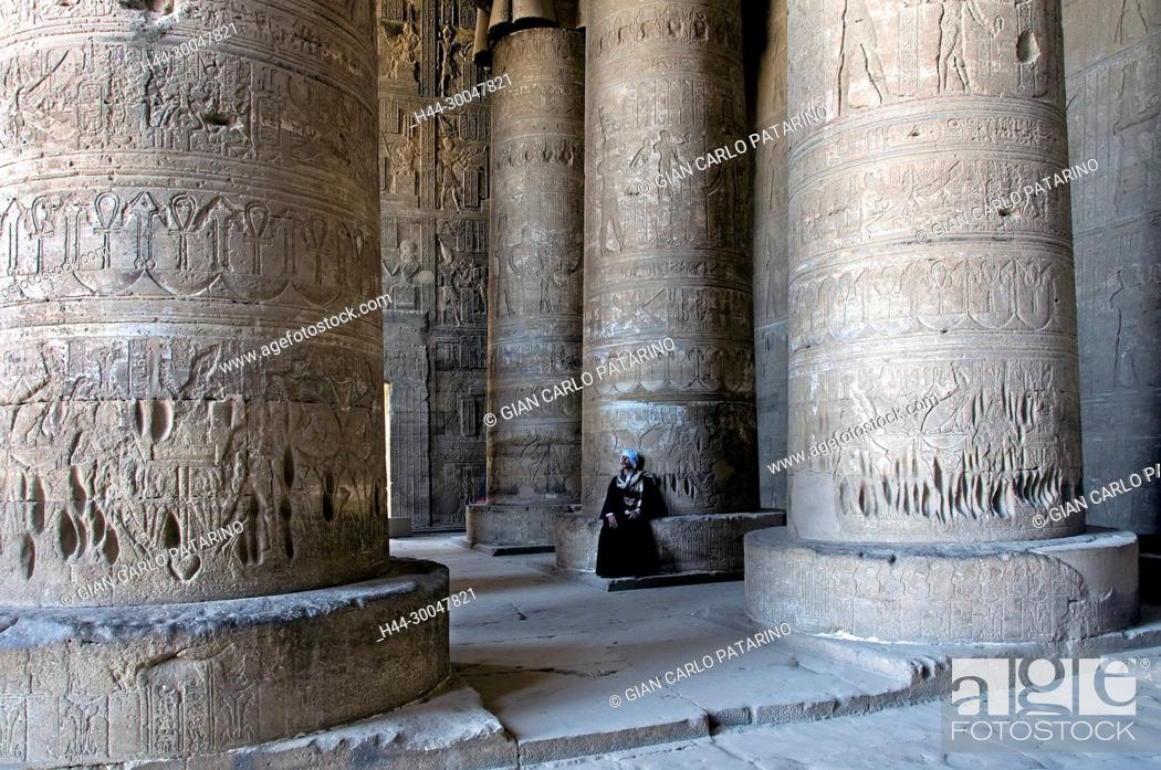 Stock Photo: Dendera Egypt, temple dedicated to the goddess Hathor. View of the hypostyle hall.