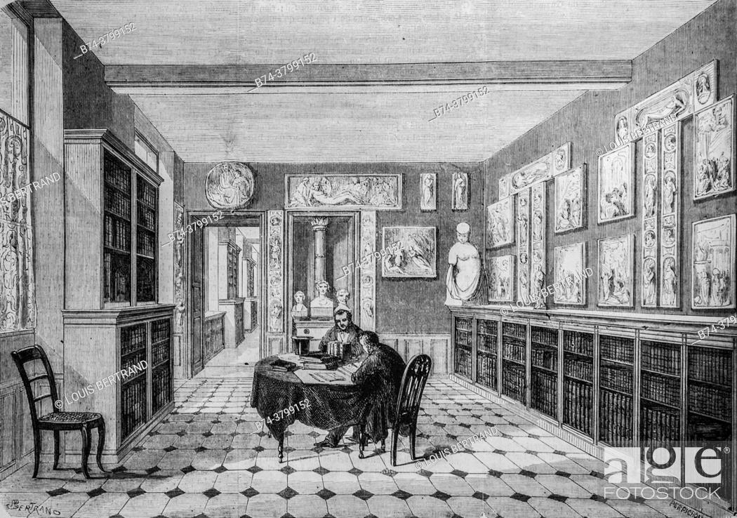 Photo de stock: victor cousin library at the sorbonne, the illustrious universe, publisher michel levy 1868.