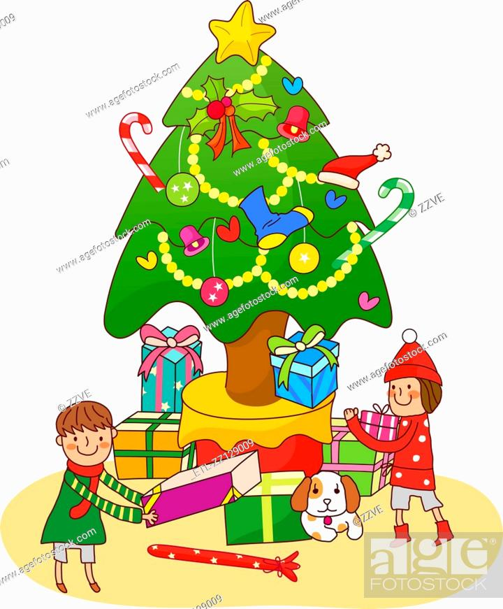 Stock Photo: Boy and a girl standing near a Christmas tree and holding Christmas presents.