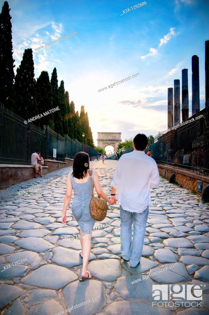 Stock Photo: Couple at the Roman Forum, Rome, Italy.