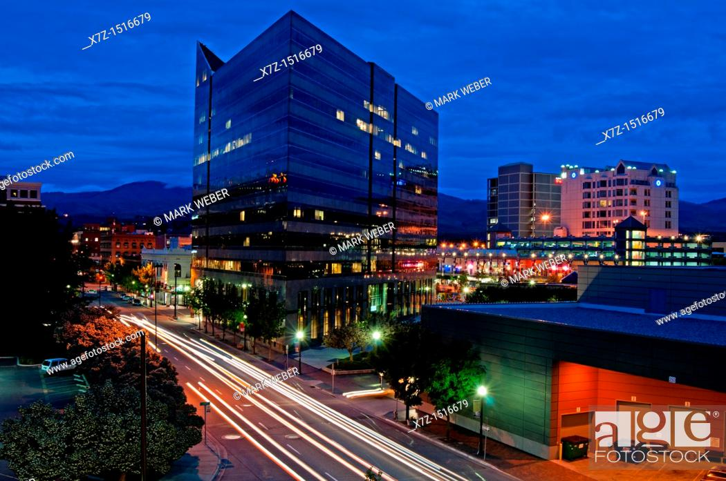 Stock Photo: Boise, night lights downtown in the capitol city of Boise in southern Idaho.