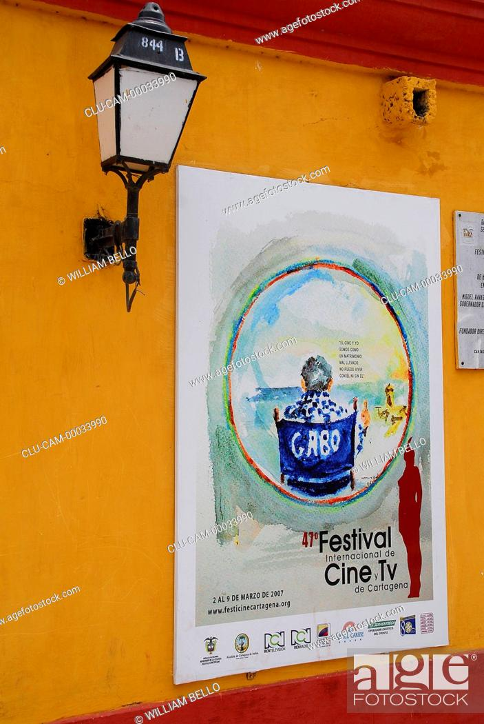 Stock Photo: Poster Festival the International of Cinema and Television of Cartagena, Bolivar, Colombia.