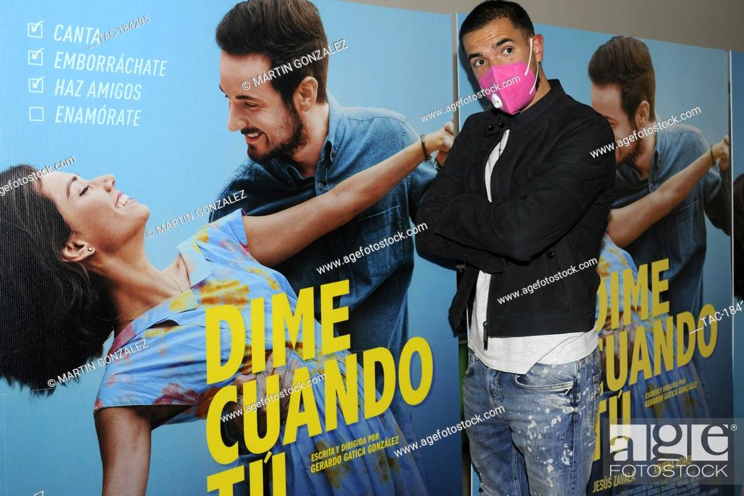 Stock Photo: MEXICO CITY, MEXICO ñ DECEMBER 14: Actor Juca Viapri poses for photos during the red carpet of film premiere Dime Cuando Tu at Cinepolis Diana on December 14.