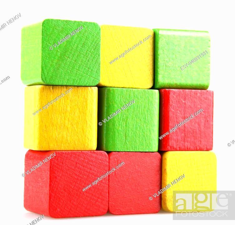 Stock Photo: Children's wooden blocks for play.