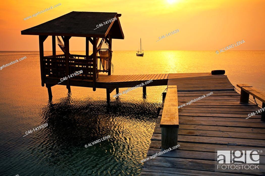 Stock Photo: Beach, West End village, Roatan, Bay Islands, Caribbean, Honduras.
