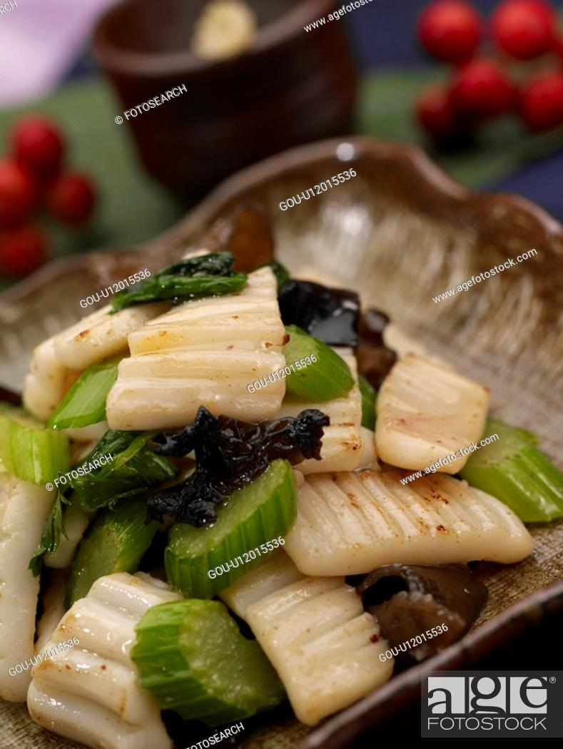 Stock Photo: dishes, Food styling, dish, dishes, dish, roasted squid, celery and roasted squid.