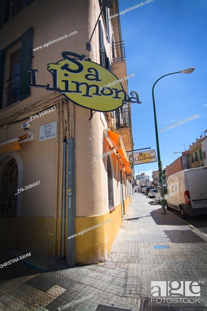 Stock Photo: Sa Limona restaurant corner in Santa Catalina, Palma de Mallorca, Balearic islands, Spain.