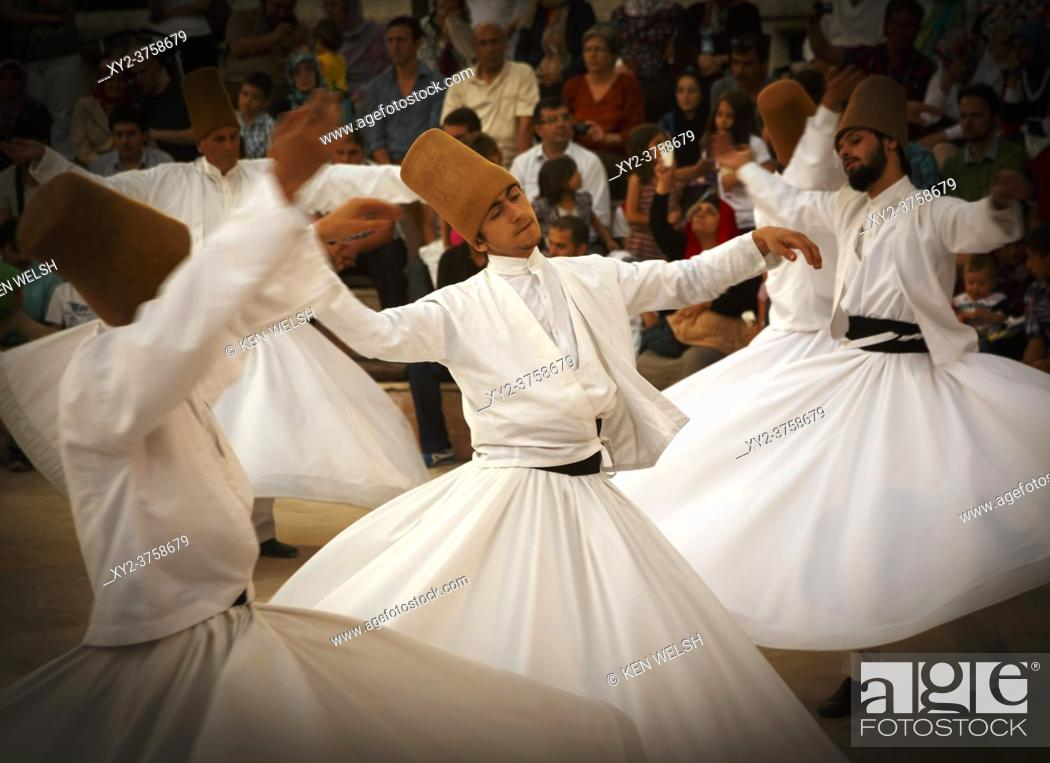 "Stock Photo: Konya, Konya Province, Turkey. Whirling Dervishes. UNESCO proclaimed the """"The Mevlevi Sema Ceremony"""" of Turkey (seen here) amongst the Masterpieces of the."