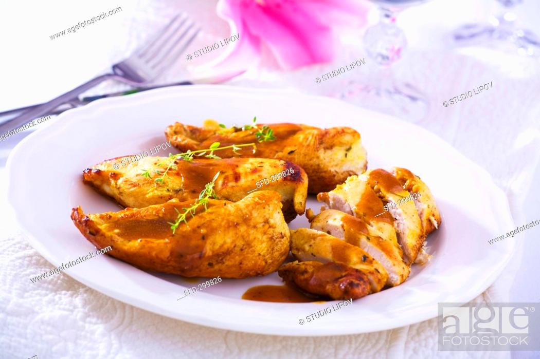 Stock Photo: Chicken breast with Madeira sauce.