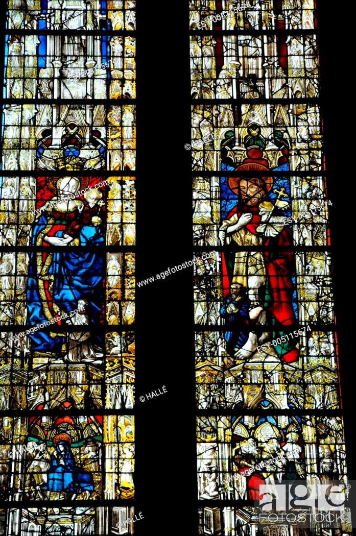 Stock Photo: cathedral stained glass window of Rouen in Normandy.