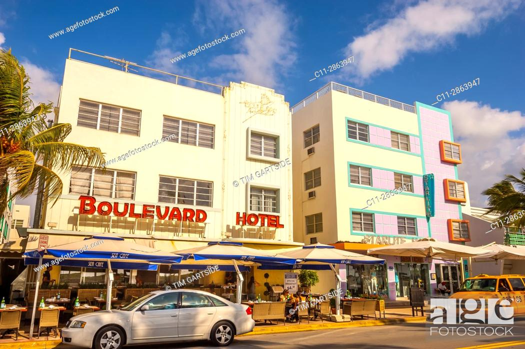 Stock Photo: Colony and Boulevard Hotel, South Beach, Ocean Drive, Miami, Florida, USA.