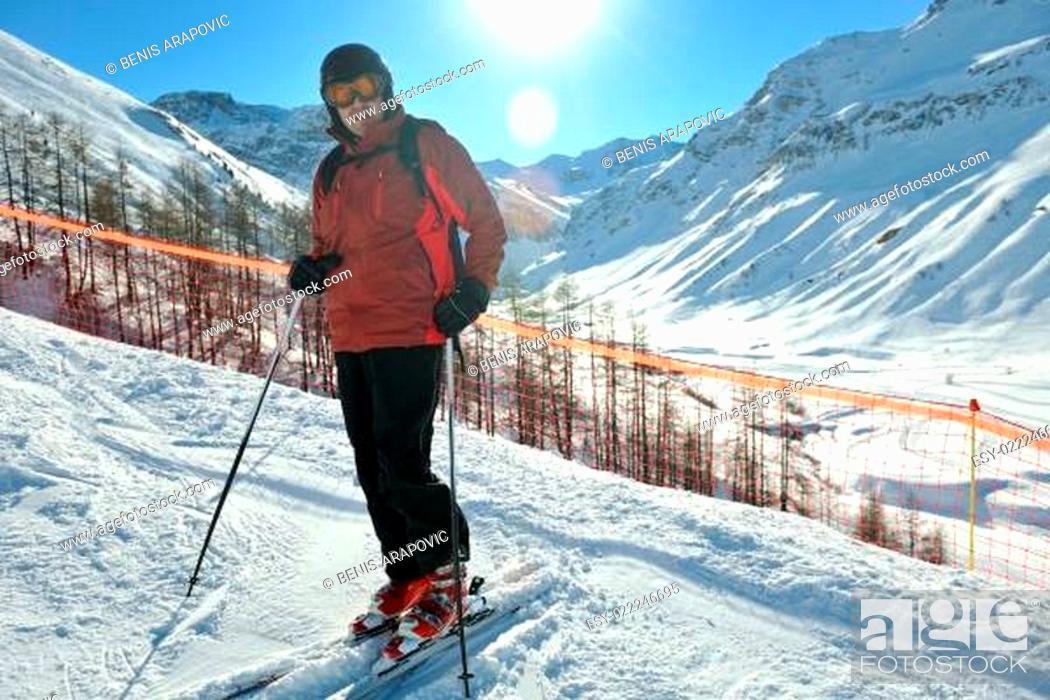 Photo de stock: people group on snow at winter season.