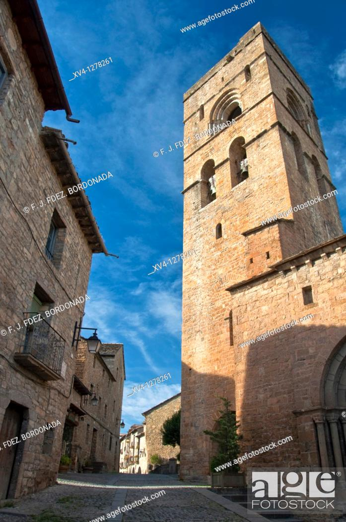 Stock Photo: Church tower at Mediaeval Village of Ainsa, Sobrarbe, Huesca, Aragón  Spain  Europe.