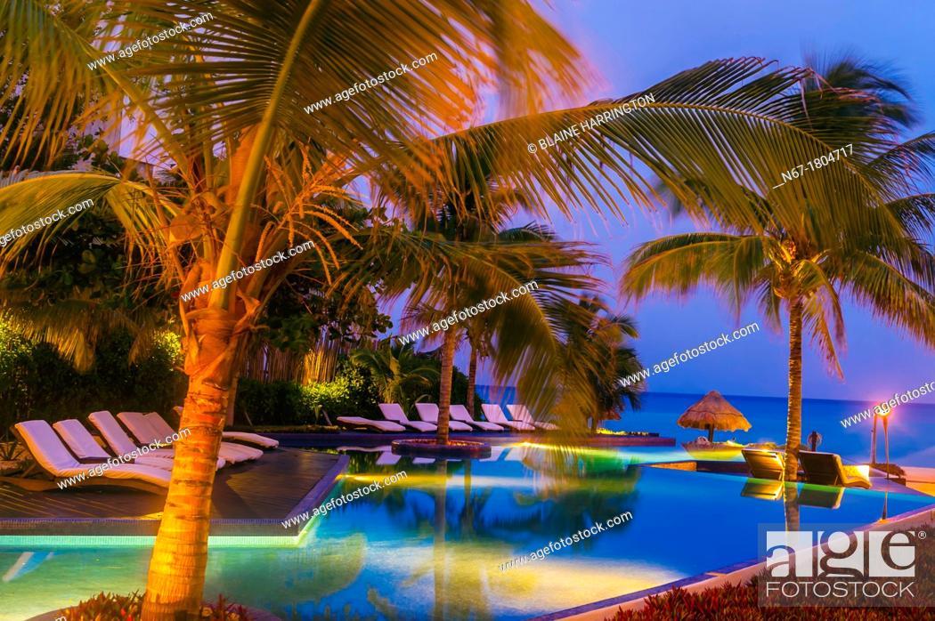Stock Photo Twilight Le Reve Hotel Riviera Maya Quintana Roo Mexico