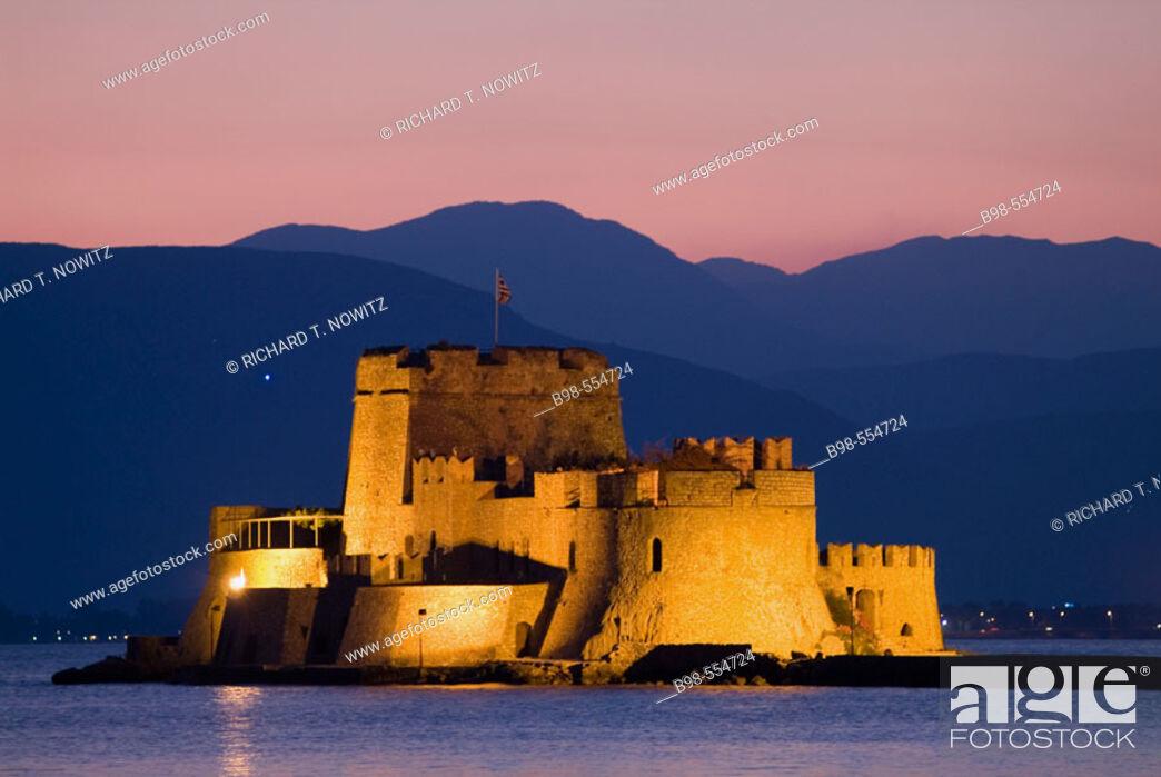 Stock Photo: Nauplia, Greece, Bourtzi Island and Fortress at twilight.