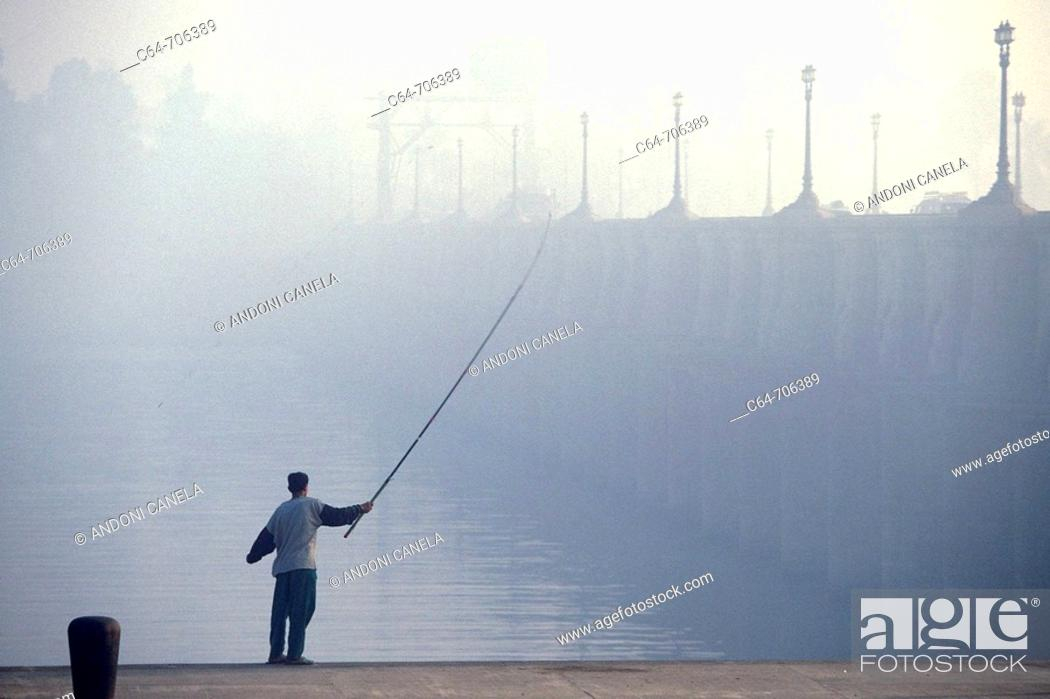 Stock Photo: Young man fishing. Nile Delta. Egypt.