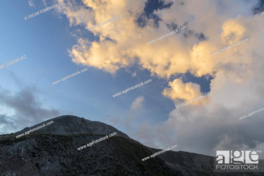 Stock Photo: Sunset over Bastiments mountain. Capçaleres del Ter i del Freser Natural Park. Catalonia. Spain.