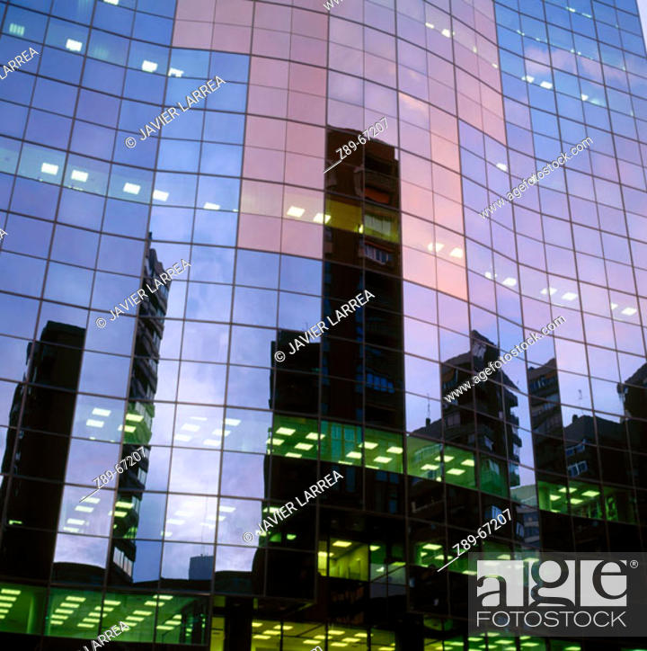 Stock Photo: Grupo Santander office building in Azca district, Madrid. Spain.
