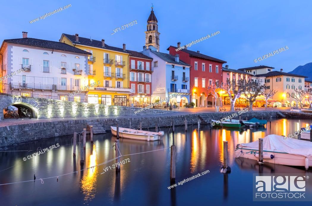 Stock Photo: Blu hour at Ascona port, Lago Maggiore, Canton Ticino, Switzerland.
