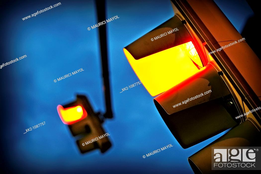 Stock Photo: Old traffic light in red, Barcelona, Catalonia, Spain.