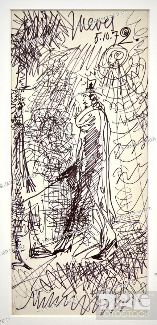 """Stock Photo: """"Deux hommes sous le soleil"""", 1972, Pablo Picasso, Picasso Museum, Paris, France, Europe."""