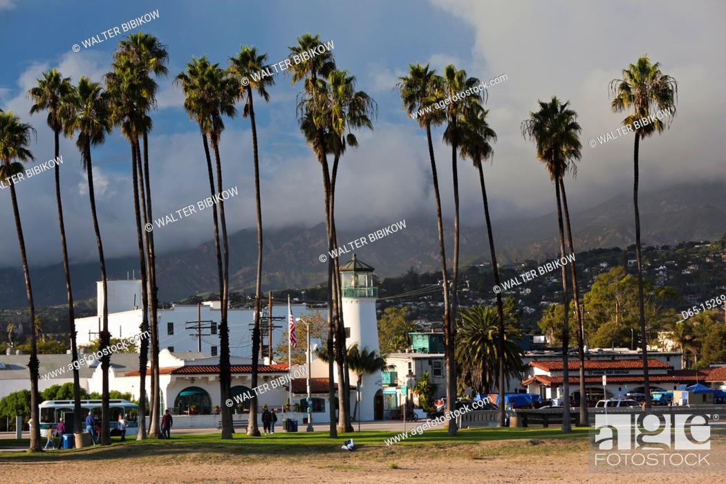 Stock Photo: USA, California, Southern California, Santa Barbara, harborfront and beach.