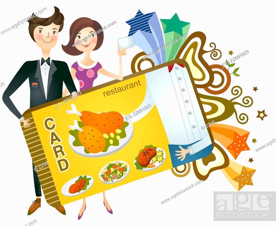 Stock Photo: Couple holding restaurant card.